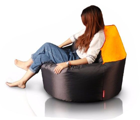 XL 2in1 Fotel-Puff (Narancs-Sötétbarna) - babzsákfotel