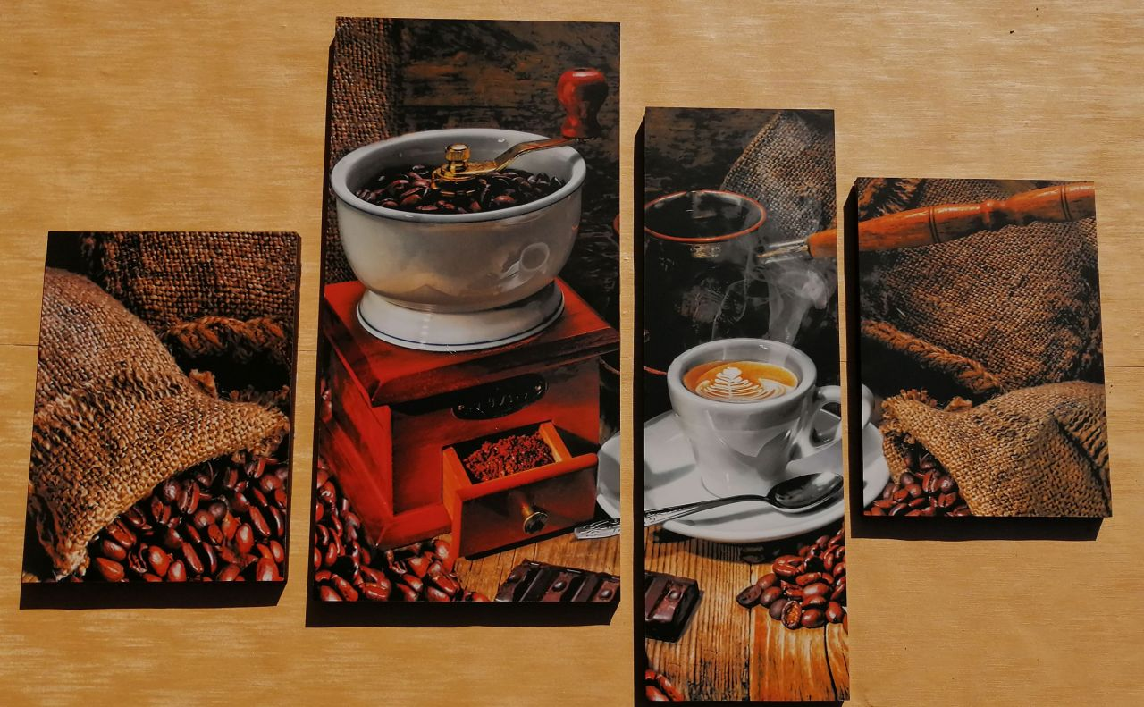 Coffee Time 4 részes fali kép 100 x 70