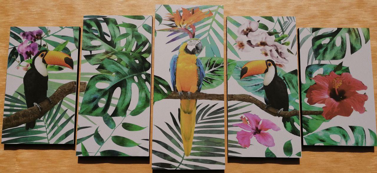 Trópusi Papagájok 5 részes fali kép 150 x 70
