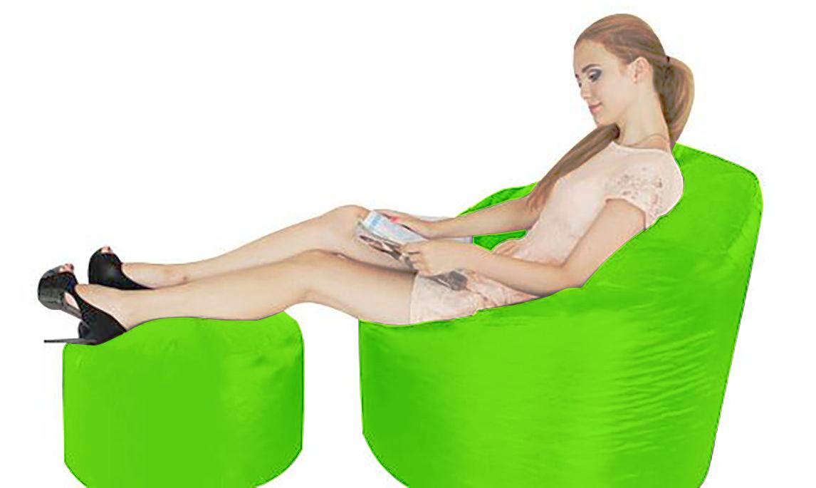 Grande XXL Babzsákfotel + Ajándék Puff (Lime Green)